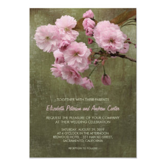Unique Cherry Blossom Sakura Country Wedding 13 Cm X 18 Cm Invitation Card