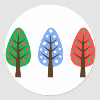 Unique Christmas trees green blue red Sticker