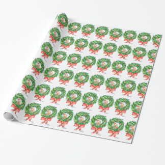 Unique Christmas wrapping paper Kiwi and wreath