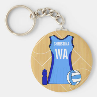 Unique Customisabe Netball keyring Basic Round Button Key Ring