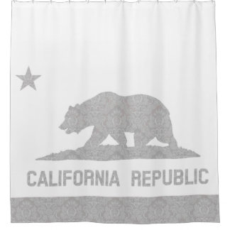 Unique Damask Pattern Flag of California Shower Curtain