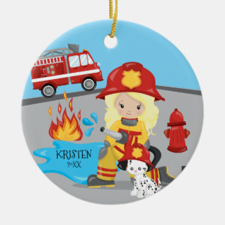 Unique Firefighter Blonde Girl Christmas Christmas Ornament