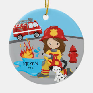 Unique Firefighter Brown Hair Girl Christmas Christmas Ornament
