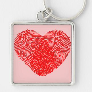 Unique Love Heart Romantic Personal Touch Silver-Colored Square Key Ring