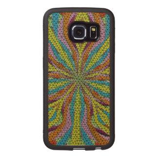 Unique mosaic colorful pattern wood phone case