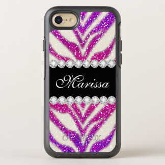 Unique Pink Purple Glitter Girly Black Zebra OtterBox Symmetry iPhone 8/7 Case