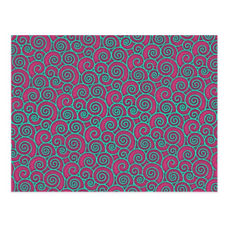Unique Trendy Wavy Swirly Pink Turquoise Abstract Postcard