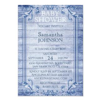 Unique Vintage Blue Wood Boy Baby Shower Invites