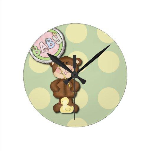 Unisex Teddy Bear Nursery Bedroom Wallclocks