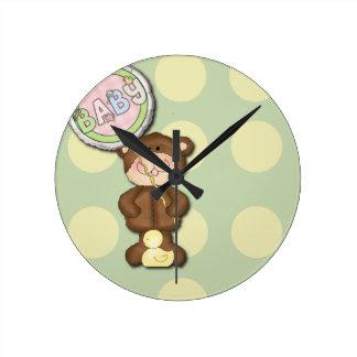 Unisex Teddy Bear Nursery Bedroom Wall Clock