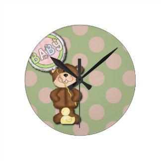 Unisex Teddy Bear Nursery Bedroom Wall Clocks