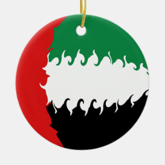 United Arab Emirates Gnarly Flag Round Ceramic Decoration