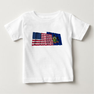 United States and Pennsylvania Waving Flags Baby T-Shirt