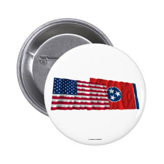 United States and Tennessee Waving Flags 6 Cm Round Badge