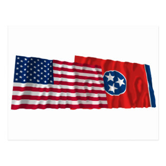 United States and Tennessee Waving Flags Postcard