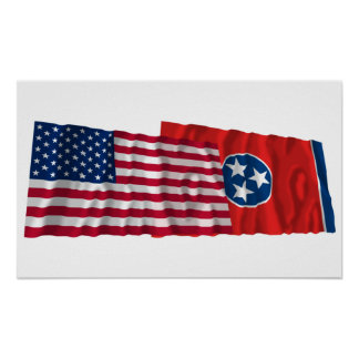 United States and Tennessee Waving Flags Poster