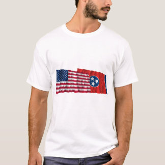 United States and Tennessee Waving Flags T-Shirt