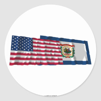 United States and West Virginia Waving Flags Stickers