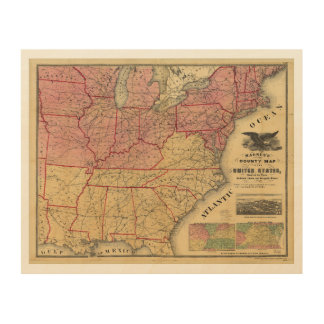 United States Civil War Map by Charles Magnus 1862 Wood Wall Art