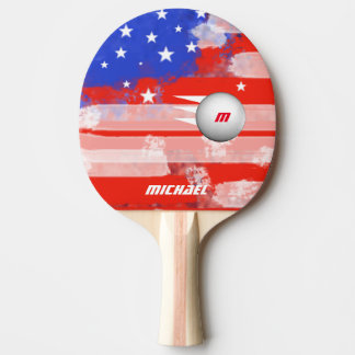 united states flag with ball & name, cool