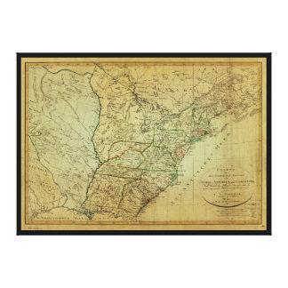 United States North America & Louisiana Map (1805) Canvas Print
