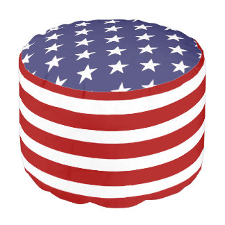 United States Of America USA Flag Pouf