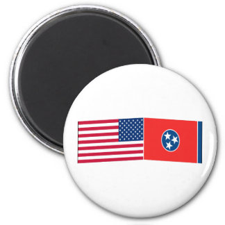United States & Tennessee Flags 6 Cm Round Magnet