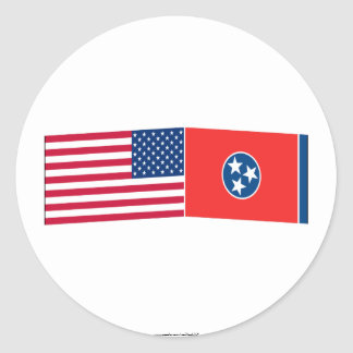 United States & Tennessee Flags Round Sticker