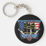 United We Stand Firefighters Basic Round Button Key Ring
