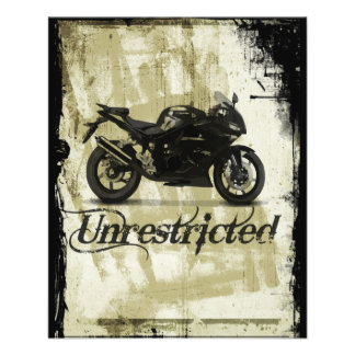 UNRESTRICTED GRUNGE MOTORCYCLE MOTORBIKE GANG MOTT 11.5 CM X 14 CM FLYER