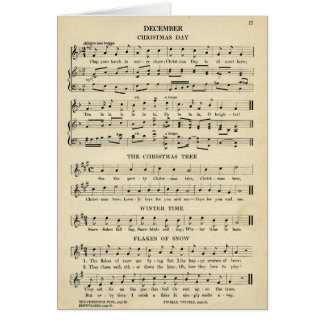 Unusual Vintage Christmas Music Sheet Songs Card