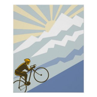Uphill Cyclist Illustration Poster
