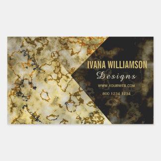 Upscale Luxurious Marbleized Cracked  FAUX Gold Rectangular Sticker