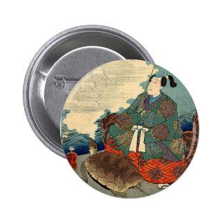 Urashima Taro and the Turtle Japanese Fairy Tale Pinback Buttons