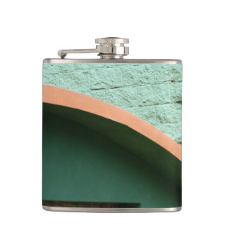 Urban architecture in green color hip flask