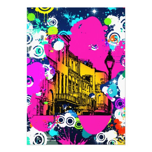 urban city graffiti paint splatter design colorful custom invitation