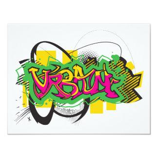 urban graffiti design 11 cm x 14 cm invitation card