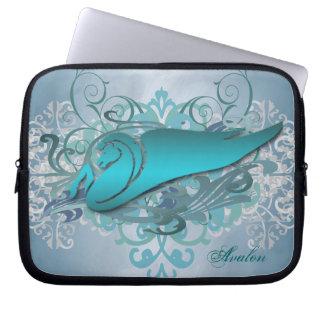 Urban Teal Fantasy Pegasus Laptop Sleeve