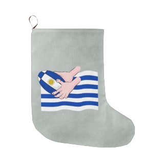 Uruguay Flag With Cartoon Rugby Ball Large Christmas Stocking