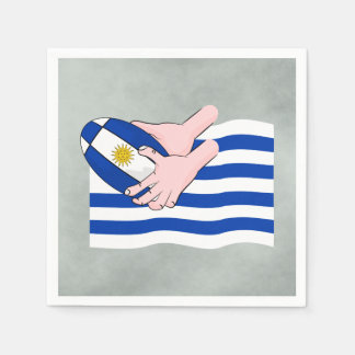 Uruguay Flag With Cartoon Rugby Ball Paper Napkins