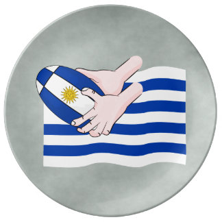 Uruguay Flag With Cartoon Rugby Ball Plate