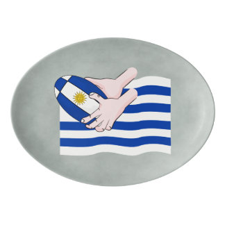 Uruguay Flag With Cartoon Rugby Ball Porcelain Serving Platter