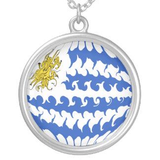 Uruguay Gnarly Flag Round Pendant Necklace