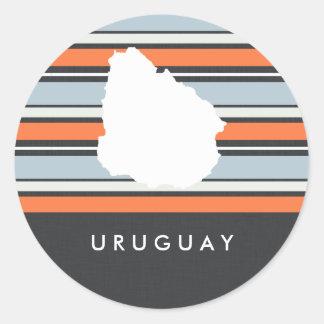 Uruguay Map: Modern Stripes Classic Round Sticker