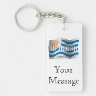 Uruguay Waving Flag Key Ring