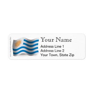Uruguay Waving Flag Return Address Label
