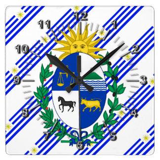 Uruguayan stripes flag square wall clock