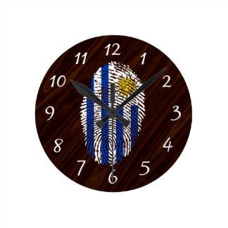 Uruguayan touch fingerprint flag round clock