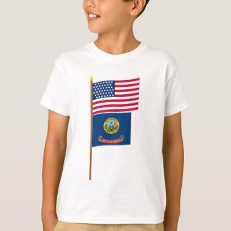 US 43-star flag on pole with Idaho T-Shirt