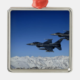 US Air Force F-16 Fighting Falcons Silver-Colored Square Decoration